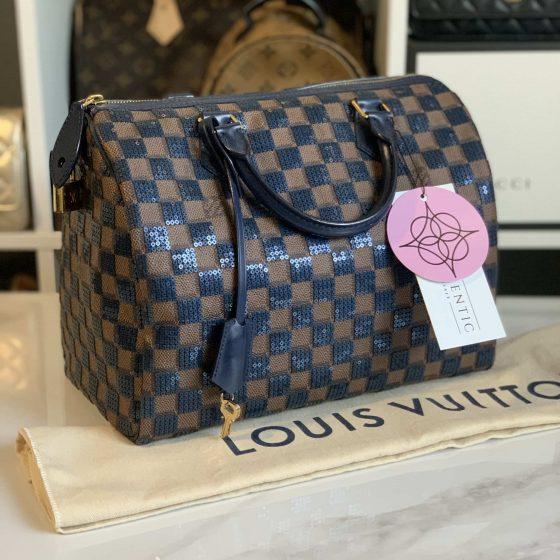 Louis Vuitton Damier Paillettes Speedy 30 Blue
