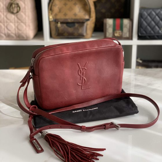 Saint Laurent Lambskin Small Lou Camera Bag Burgundy