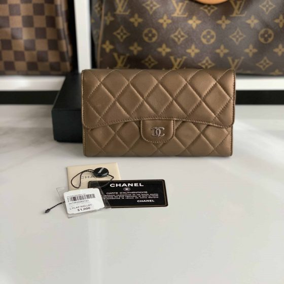 Chanel Lambskin Long Flap Wallet Gold