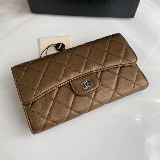 Chanel Lambskin Long Flap Wallet Gold