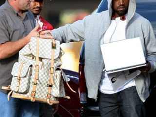 Kanye West Holding a Louis Vuitton Montsouris Backpack