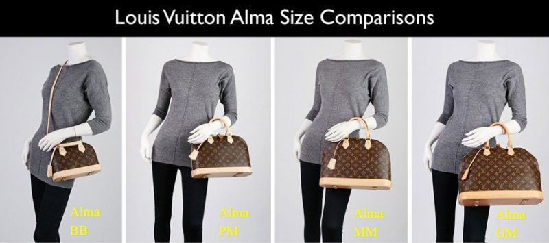 Size Comparison of Louis Vuitton Alma
