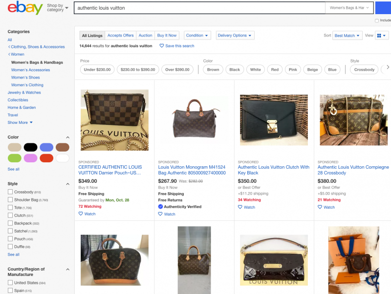 ebay Search for Authentic Louis Vuitton