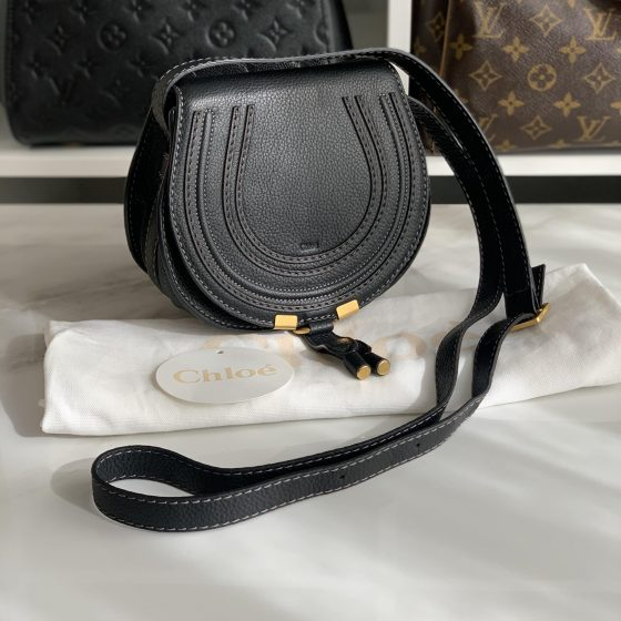 Chloe Mini Marcie Leather Saddle Bag Black