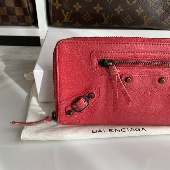 Balenciaga Classic Continental Zip-Around Wallet Pink