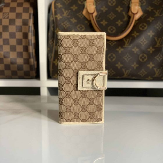 Gucci Canvas and Ivory Leather Wallet