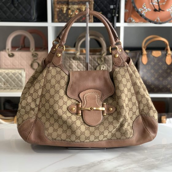 Gucci Monogram Large New Pelham Shoulder Bag Brown