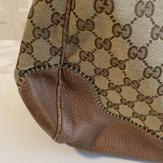 Gucci Monogram Large New Pelham Shoulder Bag Brown