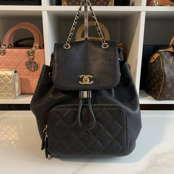 Chanel Caviar Quilted Business Affinity Backpack Black