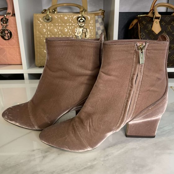 Jimmy Choo Pink Autumn 65 Velvet Ankle Boots/Booties Size 38
