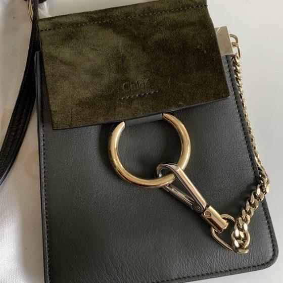 Chloe Suede Calfskin Mini Faye Bracelet Bag Forest Green
