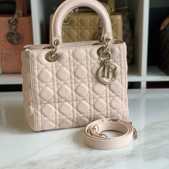Christian Dior Lambskin Cannage Medium Lady Dior Powder Pink & Light Gold Hardware