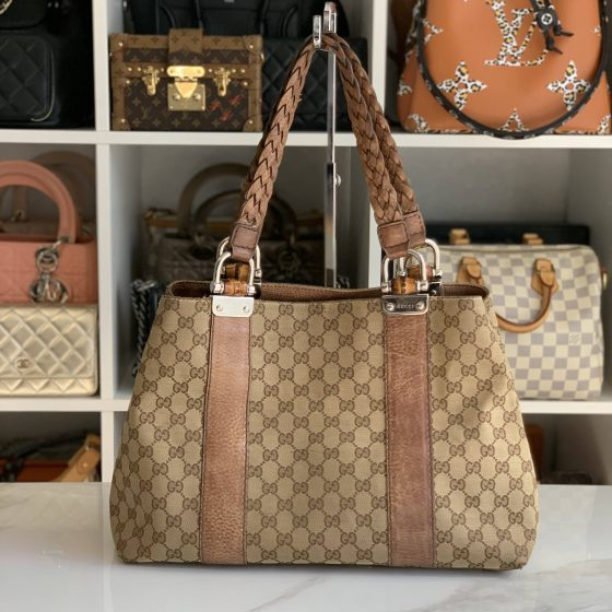 Gucci Monogram Libeccio Bamboo Bar Medium Tote Brown
