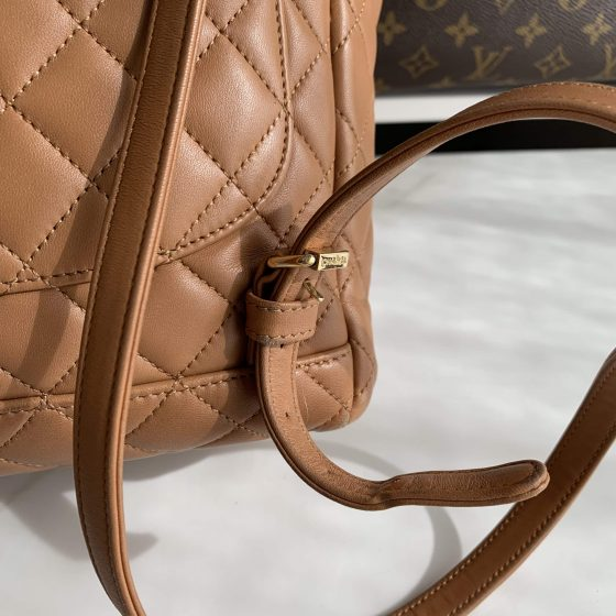 Chanel Lambskin Quilted Small Urban Spirit Backpack Caramel Gold Hardware