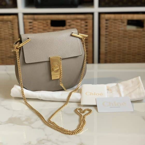 Chloe Grained Lambskin Mini Drew Crossbody Motty Grey