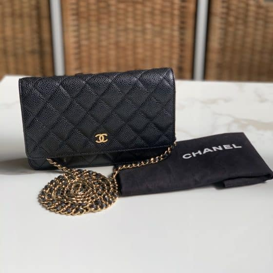 Chanel Caviar Quilted Wallet On Chain WOC Black Gold Hardware