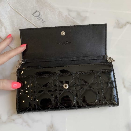 Christian Dior Black Patent Cannage Rendezvous Chain Wallet