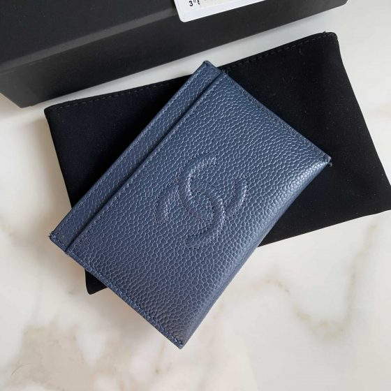 Chanel Caviar Timeless CC Card Holder Blue