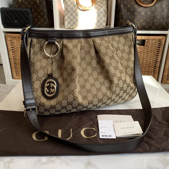 Gucci Sukey Crossbody Messenger Bag GG Canvas Medium