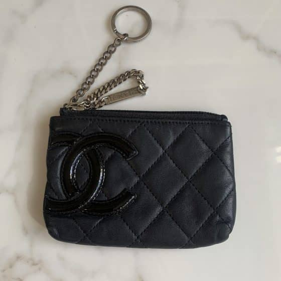 Chanel Calfskin Cambon Quilted Key Pouch Black