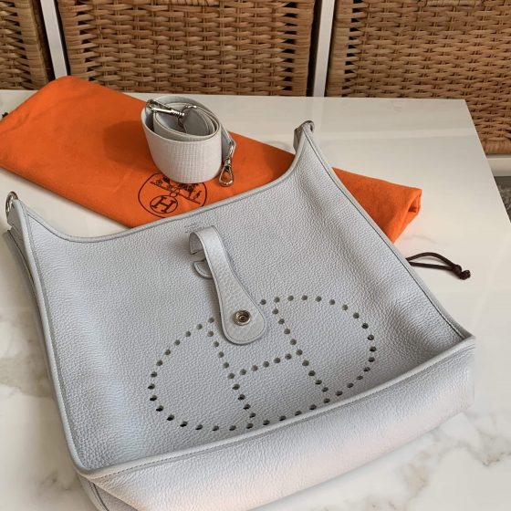 Hermes Taurillon Clemence Evelyne PM Gris Perle