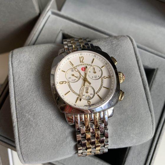 Michele Ascalon Diamond Dial Chronograph Watch Head & Bracelet, 38mm Two Tone