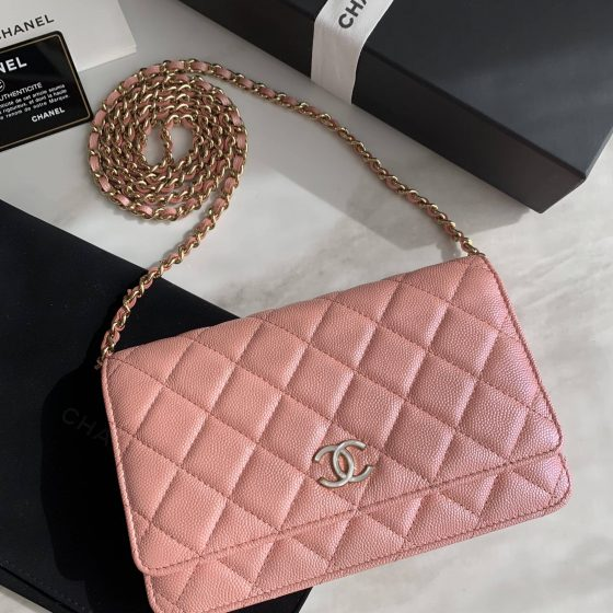 Chanel Iridescent Caviar Quilted Wallet on Chain WOC Pink