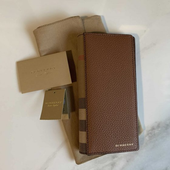 Burberry Grainy Leather House Check Continental Wallet Chestnut Brown