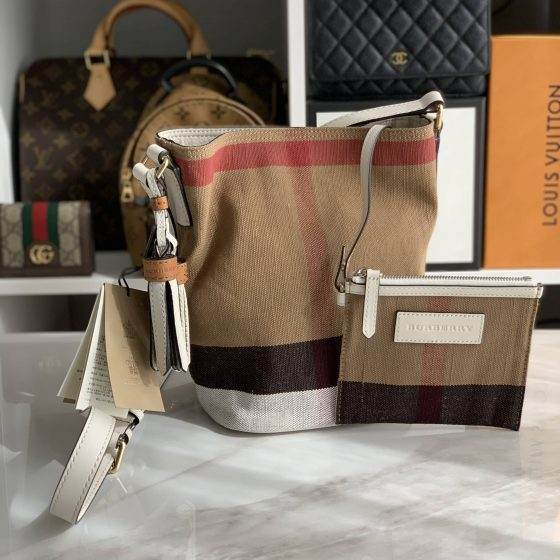 Burberry Canvas Check Mini Ashby Tassel Crossbody White