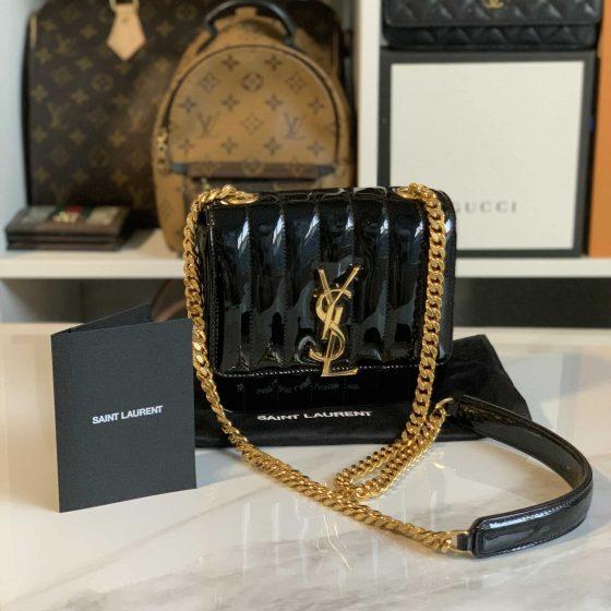Saint Laurent Patent Calfskin Matelasse Small Vicky Chain Bag Black