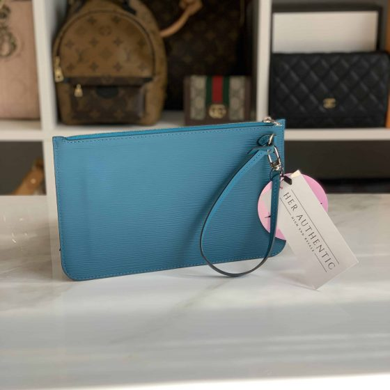 Louis Vuitton Epi Neverfull Pochette MM Cyan