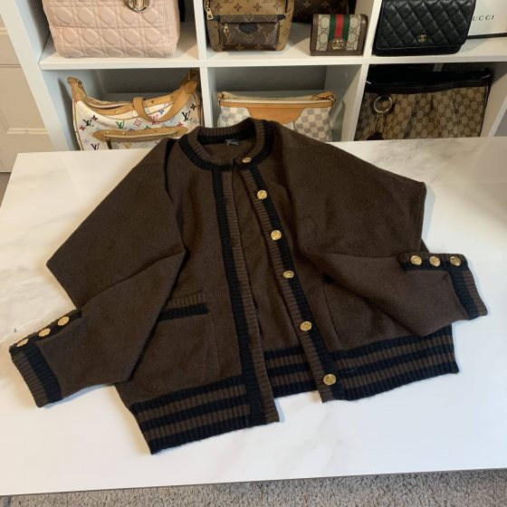 Chanel 100% Cashmere Brown & Black Cardigan Size M w/Gold Purses