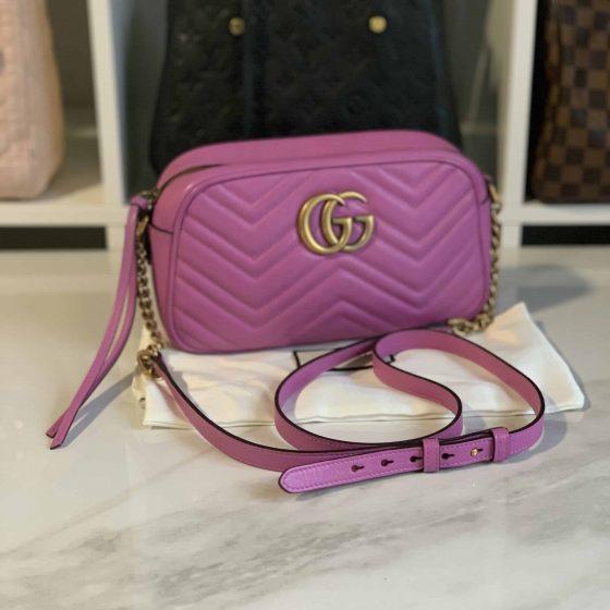 Gucci Calfskin Matelasse Small GG Marmont Bag Candy Pink