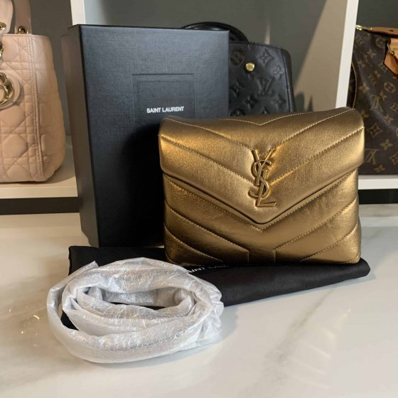 Saint Laurent Monogram Loulou Baby Leather Crossbody Bag Gold