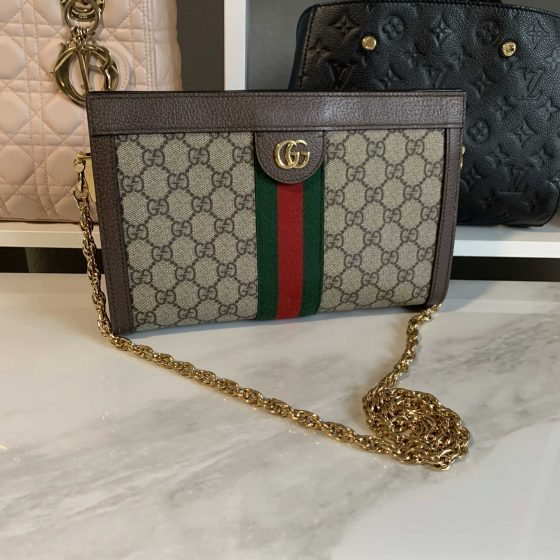 Gucci GG Supreme Monogram Small Ophidia Shoulder Bag Brown