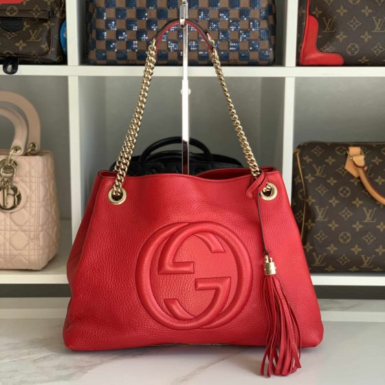 Gucci Pebbled Calfskin Medium Soho Chain Shoulder Bag Tabasco Red
