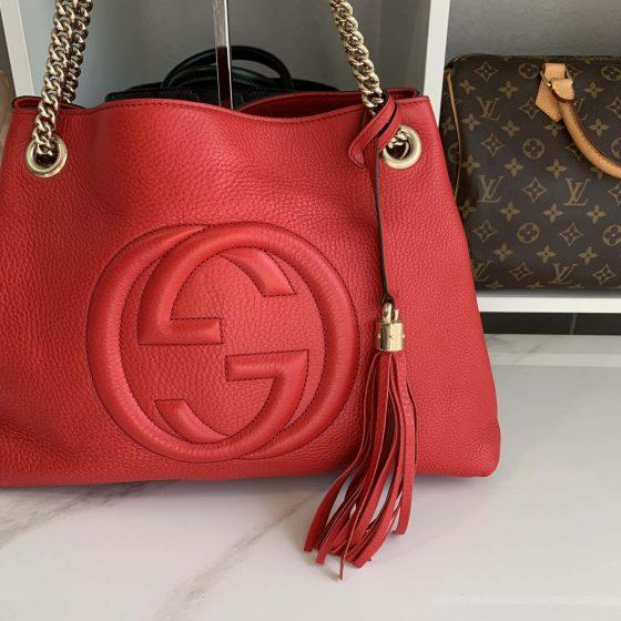 Gucci Pebbled Calfskin Medium Soho Chain Shoulder Bag Tabasco Red