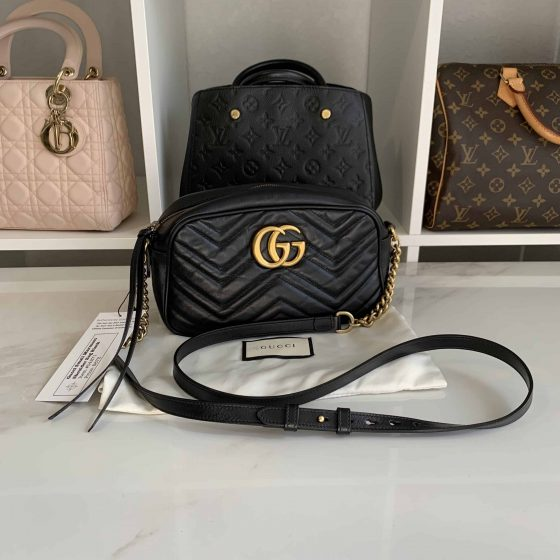 Gucci Calfskin Matelasse Small GG Marmont Bag Black
