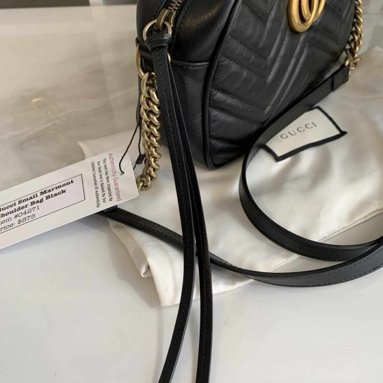 Gucci Calfskin Matelasse Small GG Marmont Bag Black