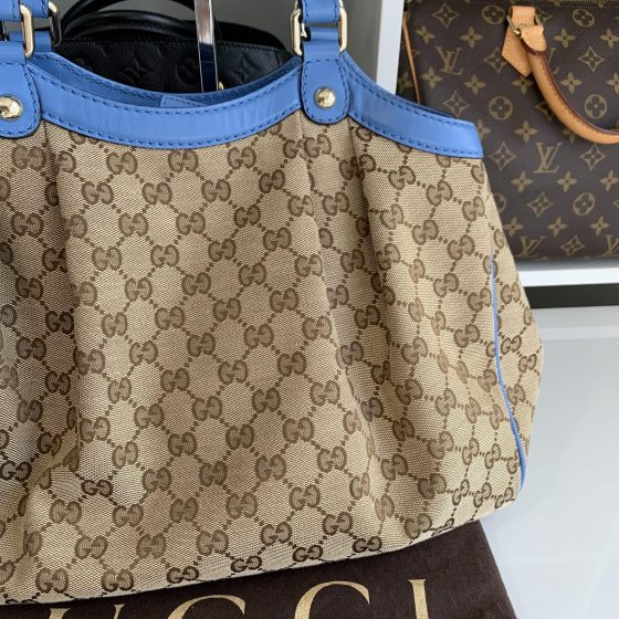 Gucci Monogram Medium Sukey Tote Blue