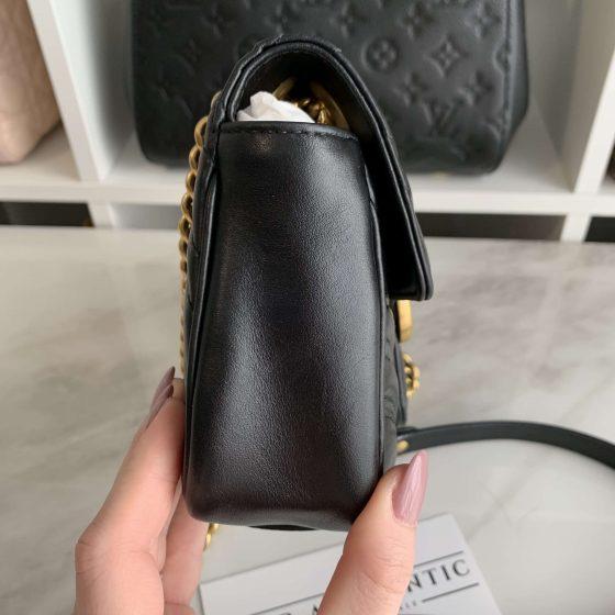 Gucci Calfskin Matelasse Mini GG Marmont Black