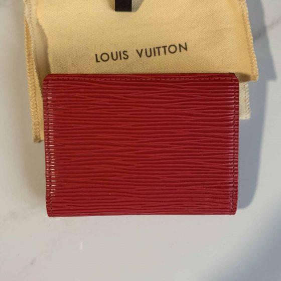 Louis Vuitton Red Epi Portmone Simple Card Coin Case