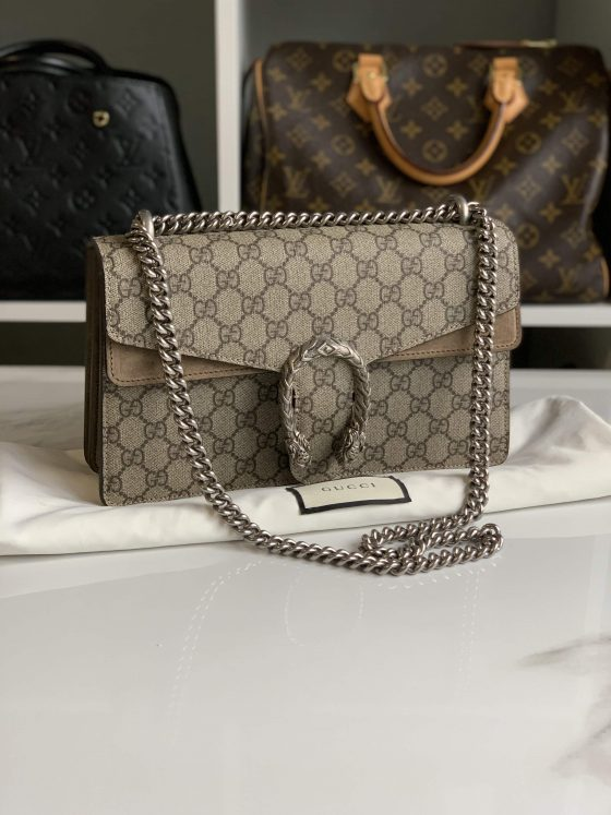 Gucci GG Supreme Monogram Small Dionysus Shoulder Bag Taupe