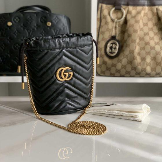 Gucci Calfskin Matelasse Mini GG Marmont 2.0 Bucket Bag Black
