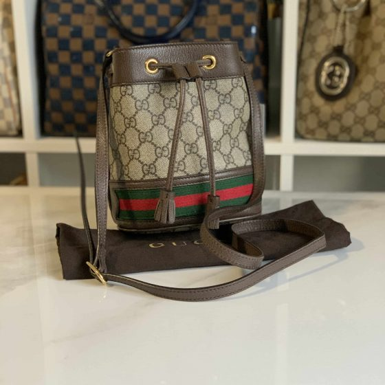 Gucci GG Supreme Monogram Web Mini Ophidia Bucket Bag Brown