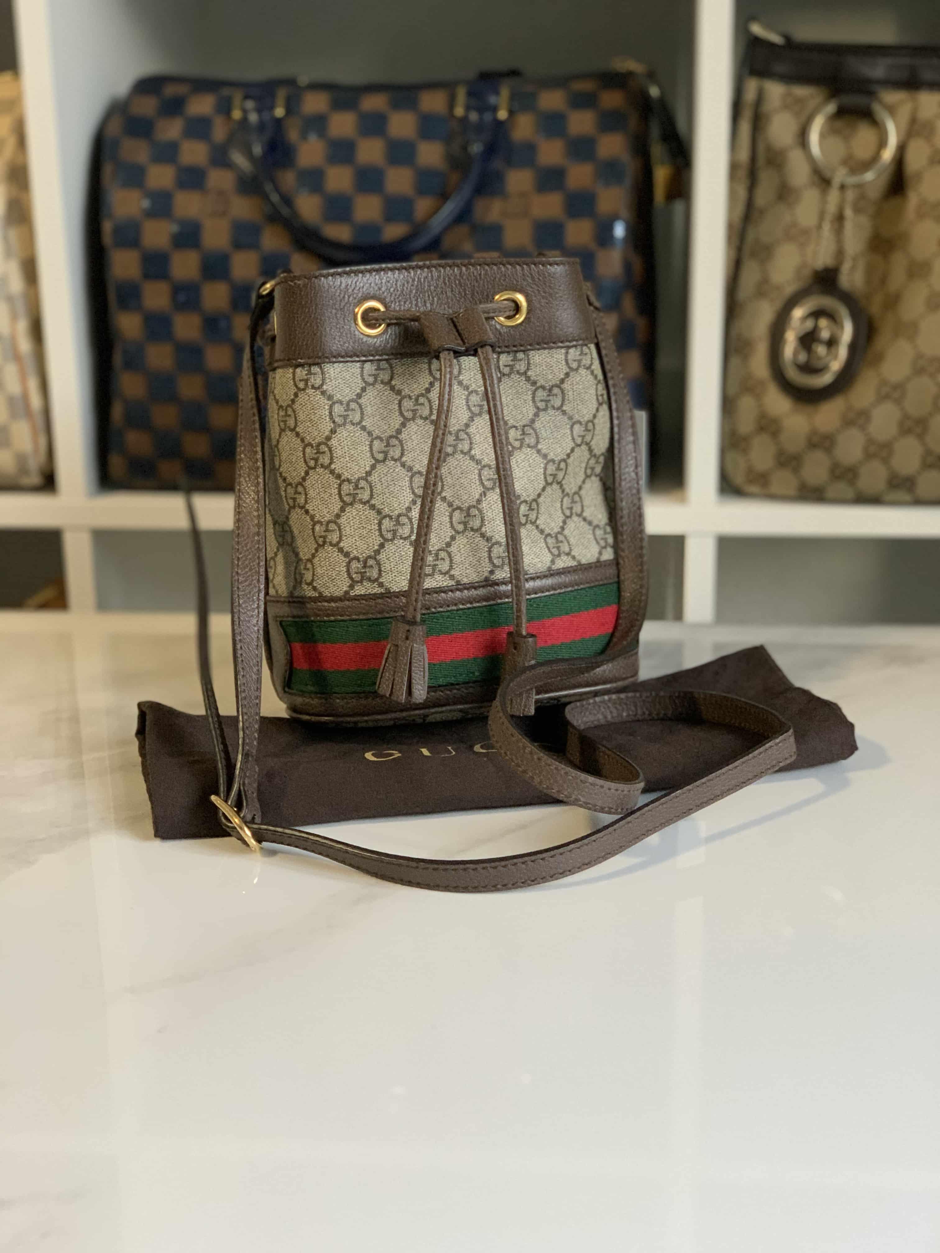 Gucci Gg Supreme Monogram Web Mini Ophidia Bucket Bag Brown