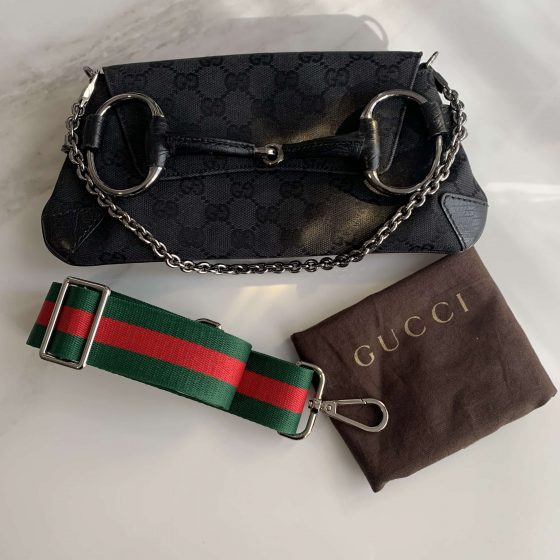 Gucci Monogram Horsebit Clutch Black