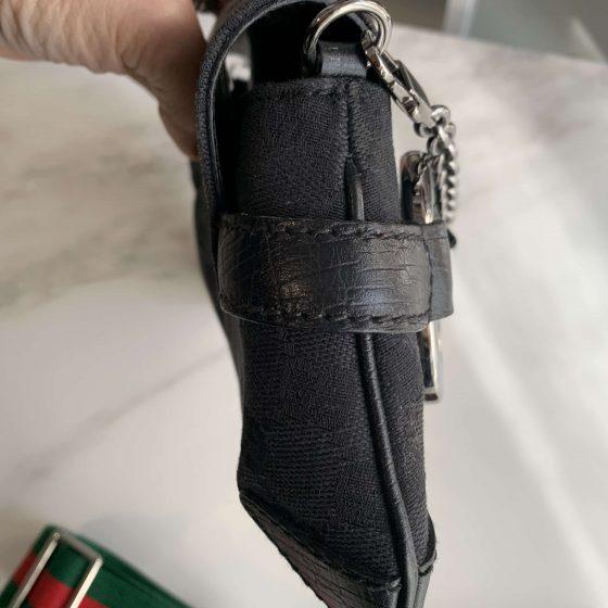 Gucci Monogram Horsebit Clutch Black