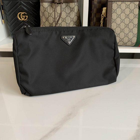 Prada Large Nylon Cosmetic Bag Black