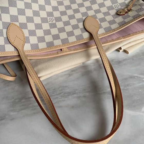 Louis Vuitton Damier Azur Neverfull MM Rose Ballerine